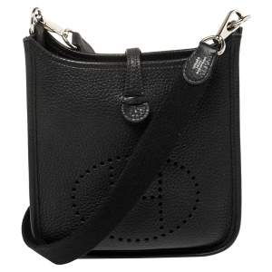 Hermes Black Togo Leather Evelyne TPM Bag