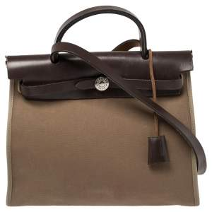 Hermes Ebene/Etoupe Canvas and Leather Herbag Zip 31 Bag