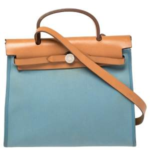 Hermes Natural/Blue Lin Canvas and Leather Herbag Zip 31 Bag