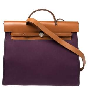 Hermes Fauve/Cassis Lin Canvas and Leather Herbag Zip 39 Bag