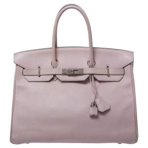 Hermes Rose Dragee Swift Leather Palladium Hardware Birkin 35 Bag