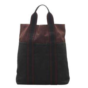 Hermes Red/Black Canvas  Fourre Tout Cabas bag
