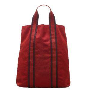 Hermes Red Canvas  Fourre Tout Cabas bag