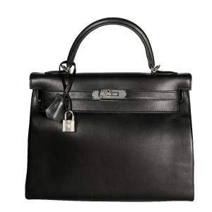 Hermes Black Swift Leather Retourne Palladium Hardware Kelly 28 Bag