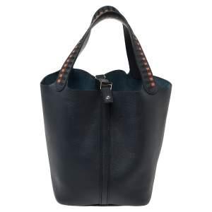 Hermes Bleu Indigo/Black/Terre Battue Epsom Leather Picotin Lock Cuir De Tressage PM Bag