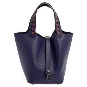 Hermes Bleu Encre/Brique/Black Epsom Leather Picotin Lock Tressage PM Bag