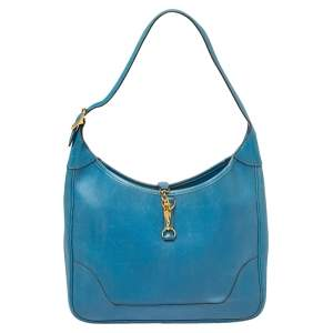 Hermes Blue Izmir Courchevel Leather Trim 31 Bag