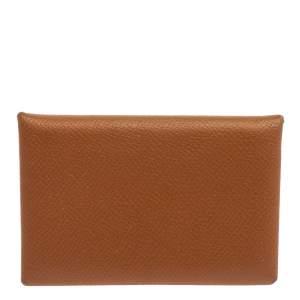 محفظة بطاقات هيرمس كالفي جلد إبسوم ذهبي