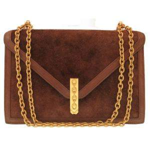 Hermes Brown Gold Hardware Vintage Suede Shoulder Bag