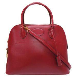 Hermes Rouge Box Calf Leather Bolide 31 Bag