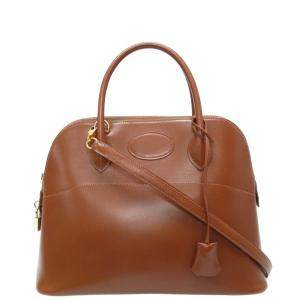 Hermes Brown Box Leather Bolide 31 Bag