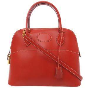 Hermes Red Box Leather Bolide 31 Bag
