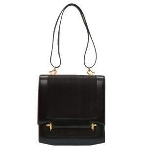 Hermes Black Box Leather Vintage Shoulder Bag