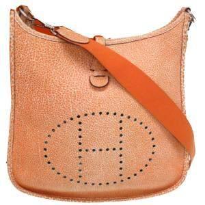 Hermes Orange Dalmatian Leather Evelyne I PM Bag