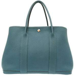 Hermes Blue Leather Garden Party 36 Tote Bag