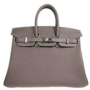 Hermes Grey Swift Leather Palladium Hardware Birkin 25 Bag