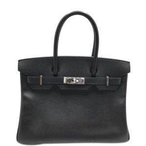 Hermes Black Epsom Leather Palladium Leather Birkin 30 Bag