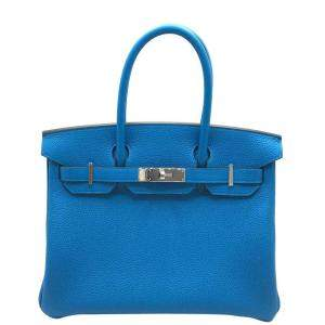 Hermes Blue Taurillon Clemence Leather Palladium Hardware Birkin 30 Bag