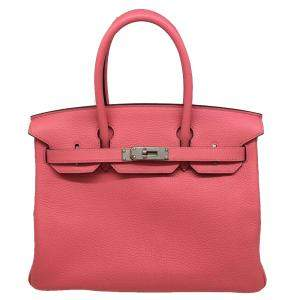 Hermes Rose Taurillon Clemence Leather Palladium Hardware Birkin 30 Bag