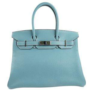Hermes Blue Togo Leather Palladium Hardware Birkin 30 Bag