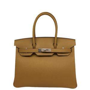 Hermes Brown Epsom Leather Palladium Hardware Birkin 30 Bag