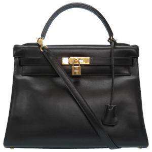 Hermes Black Calf Leather Gold Hardware Kelly 32 Bag