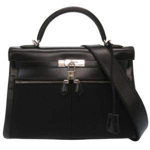 Hermes Black Box Calf Leather Palladium Hardware Vintage Kelly 32 Bag