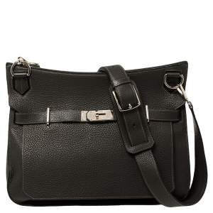 Hermes Graphite Taurillon Clemence Leather Palladium Hardware Jypsiere 37 Bag