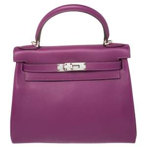 Hermes Anemone Evercolor Leather Palladium Hardware Kelly Retourne 28 Bag
