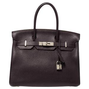 Hermes Raisin Clemence Leather Palladium Hardware Birkin 30 Bag