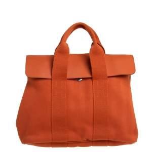 Hermes Orange Canvas and Leather Valparaiso PM Bag
