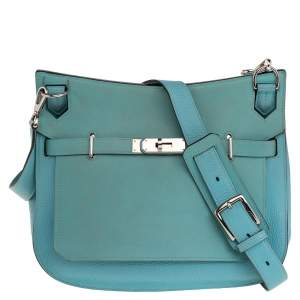 Hermes Blue Lagoon Togo and Swift Leather Palladium Hardware Jypsiere 28 Bag