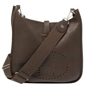 Hermes Cacao Togo Leather Evelyne III GM Bag