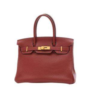 Hermes Brown Clemence Leather Gold Hardware Birkin 30 Bag