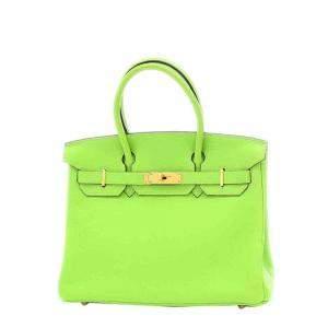Hermes Green Togo Leather Gold Hardware Birkin 30 Bag