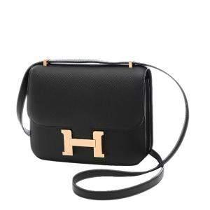 Hermes Black Epsom Leather Mini Constance Shoulder Bag