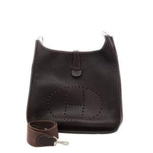 Hermes Dark Brown Leather Evelyne GM Bag