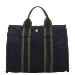 Hermes Blue Canvas Fourre Tout PM Bag