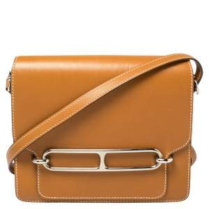 Hermes Natural Sable Veau Butler Leather Palladium Hardware Roulis 24 Bag