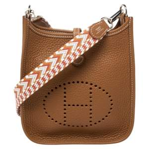 Hermes Gold Clemence Leather Evelyne TPM Bag