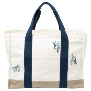 Hermes Bleu Marine Canvas Adada Nappy Bag