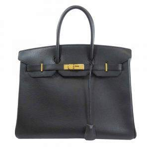 Hermes Black Leather Gold Hardware Birkin 35 Bag