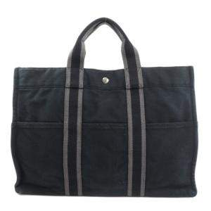 Hermes Black Canvas Fourre Tout MM Tote Bag