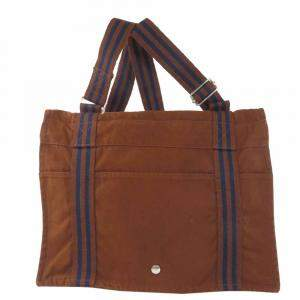 Hermes Brown Canvas  Fourre Tout Tote Bag