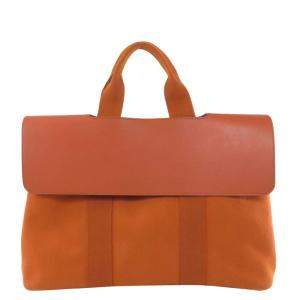 Hermes Orange Leather Valparaiso GM Tote Bag