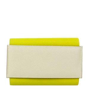 Hermes Lime/Off White Passant Epsom Leather Wallet