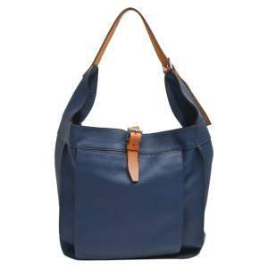 Hermes Blue Leather Marwari GM Bag