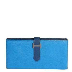 Hermes Blue Chevre de Coromandel Leather Bearn Wallet