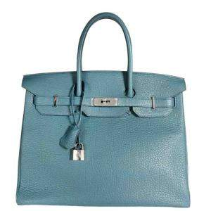 Hermes Blue Clemence Leather Birkin 35 Tote Bag