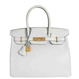 Hermes White Clemence Leather Birkin 30 Bag